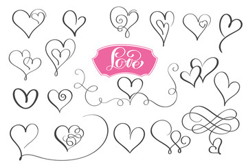 Set of hand drawn sketchy calligraphy hearts. Vector grunge style flourish collection. Illustration of the hand drawn hearts on the white background