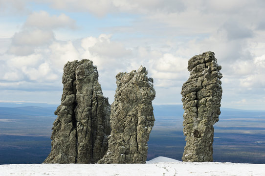 Giant rocks at the Manpupuner Plateau, Northern Ural. One of the seven wonders of Russia