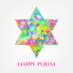 Happy Purim card with stars