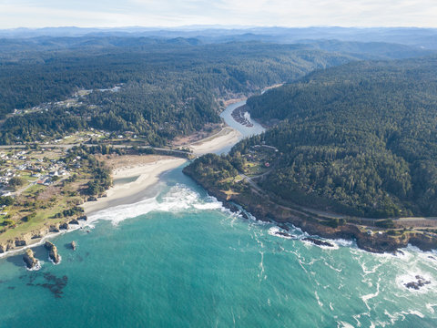 Aerial of the Big River Flowing into the Pacific Ocean in Mendocino
