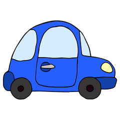 Cartoon retro blue car isolated on white background. Vector illu