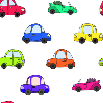 Seamless pattern of cartoon colorful retro car isolated on white