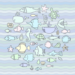 Maritime, vector set, fish in the waves. Template for style design.