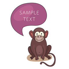 Funny Monkey With Speech Bubble. Template for style design.