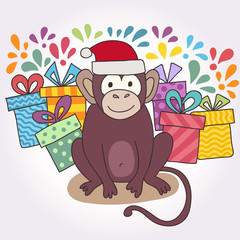 Vector funny monkey. Vector illustration for your cute design.