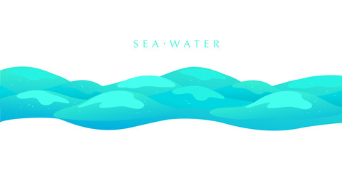 Vector flat background illustration of water waves isolated on white background. Summer tide backdrop. Sea, ocean waves symbol. Good for packaging, game design, marine banners etc.
