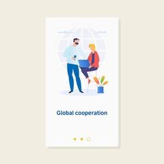 Global business. Global cooperation. Businesspersons work together Business concept illustration.