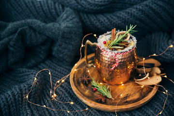 Christmas mulled wine in a copper cup