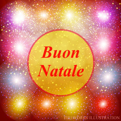 Buon Natale greeting card. New year template. Brightly Colorful Fireworks. Red illustration of Fireworks. Holiday fireworks background. Merry christmas illustration.