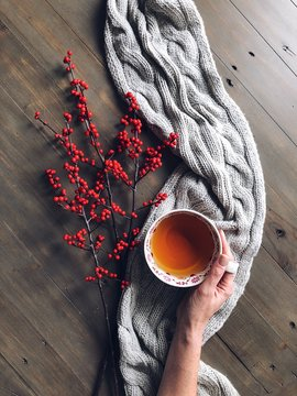 Woman's hand holding a cup of herbal tea with berries and a knitted scarf