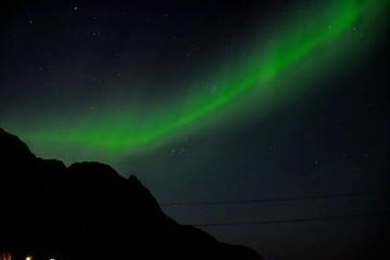 Polarlicht, Nordlicht, Aurora Borealis, Norwegen, Nordland, Lofoten, Uttakleiv, Utakleiv, Nusfjord, Dorf, Nacht, Atom, Stickstoff, Sauerstoff, HDR