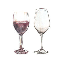 Set of Sketch of wineglasses. Isolated on white background. Hand drawn watercolor illustration.