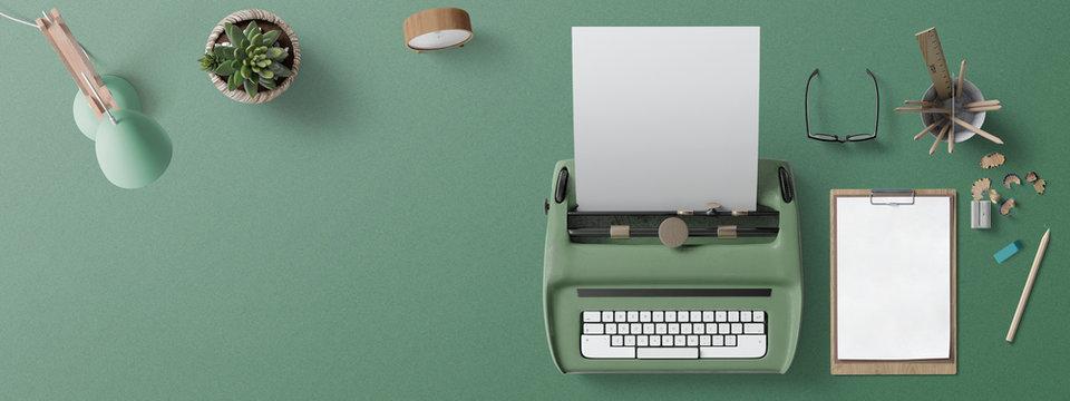Scrivania con macchina per scrivere