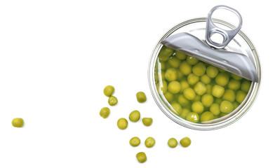 Preserved peas vegetable in open metal spoon closeup