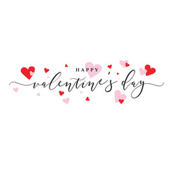 Happy Valentine's Day Vector Calligraphy with Pink and Red Hearts