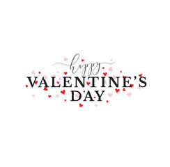 PrintHappy Valentine's Day Vector Typography with Pink and Red Hearts