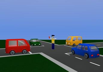 Verkehrsregelung durch einen Polizisten: freie Fahrt mit Kreuzung und bunten Autos.