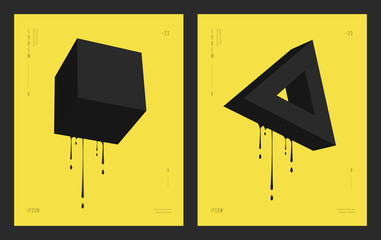 Modern abstract geometric design. Futuristic posters flyers with liquid ink splashes. Eps 10 vector illustration