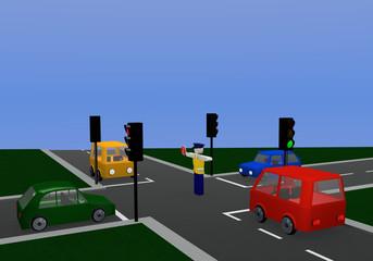 Verkehrsregelung durch einen Polizisten mit gleichfarbiger Ampel: freie Fahrt mit Kreuzung und bunten Autos.