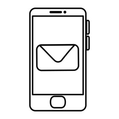 smartphone device with envelope vector illustration design
