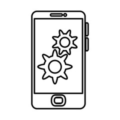 smartphone device with gears vector illustration design