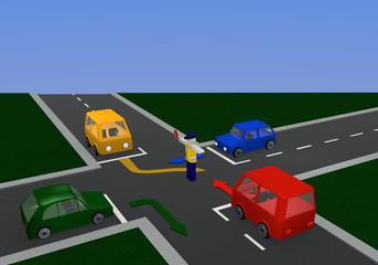 Verkehrsregelung durch einen Polizisten mit Richtungspfeilen: freie Fahrt mit Kreuzung und bunten Autos.