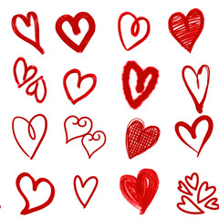 Hand drawn hearts. Design elements for Valentine's day.