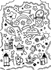 Hand drawn cute doodles collection elements vector illustration of kitchen, objects for prints design or card design