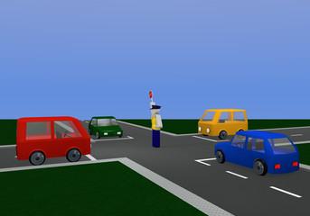 Verkehrsregelung durch einen Polizisten: für gelbe Ampelphase mit Kreuzung und bunten Autos.