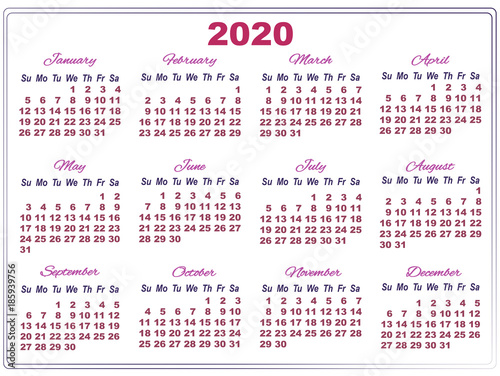 2020 calendar with big numbers