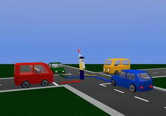 Verkehrsregelung durch einen Polizisten mit Richtungspfeilen: für gelbe Ampelphase mit Kreuzung und bunten Autos.