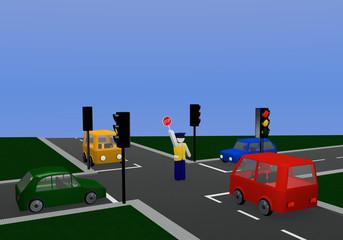 Verkehrsregelung durch einen Polizisten mit gleichfarbiger Ampel: für orange Ampelphase mit Kreuzung und bunten Autos.