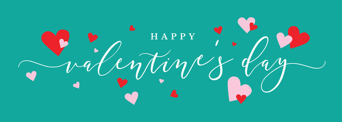 Wall Mural - Happy Valentine's Day Vector Text Calligraphy with Pink and Red Hearts Over Green Background