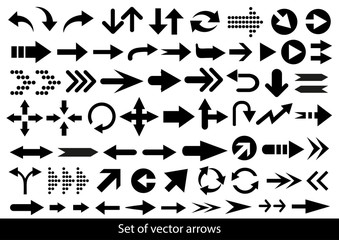 Vector set of black arrows on a white background.