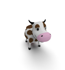 3d illustration of cartoon cow. white background isolated. icon for game web.