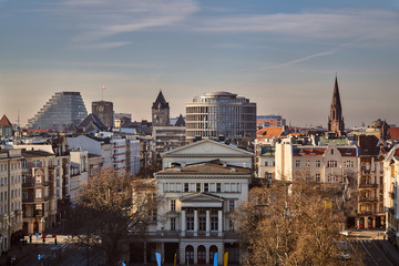 """Panorama of the center of Poznan"""" with the towers of the royal castle and church belfries."""
