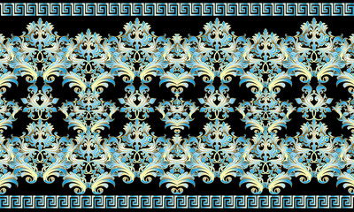 Baroque 3d seamless border pattern. Damask ornaments with blue gold flowers, scroll leaves. Vector floral background with meanders, greek key borders. Baroque wallpaper with ancient decorative edges.
