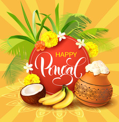 Background for Indian harvest festival Pongal (Makar Sankranti). Vector illustration.
