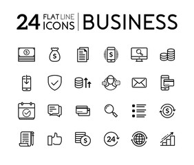 Set of line flat icons for business. Business icons collection. Collection modern infographic logo and pictogram