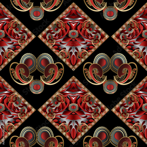 Vintage Hand Drawn Paisley Seamless Pattern Bright Black Red Gold