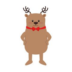 cute reindeer christmas character vector illustration design