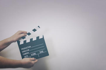 Movie clapper board. Movie production and cinema concept.