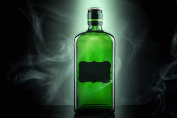 Alcohol in a green bottle