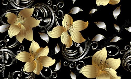 3d Golden Flowers Seamless Pattern Floral Background Vintage Wallpaper Swirl Line Art