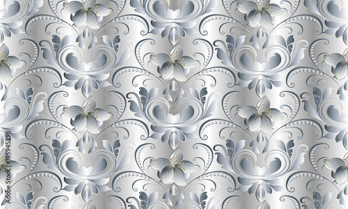 Vintage Floral White Seamless Pattern Vector Damask Background 3d Wallpaper With Hand Drawn