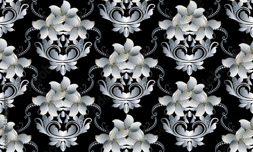 Vintage Floral Seamless Pattern Vector Black Damask Background Wallpaper With Hand Drawn White Striped 3d