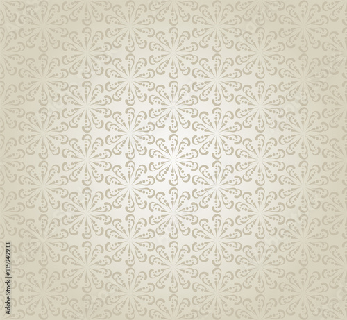 Silver Wallpaper Modern Background Flower Pattern Retro Style