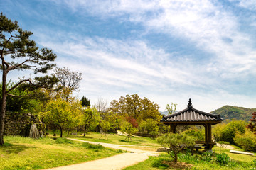 Korean traditional pavillon in the Asan Oeam Folk Village