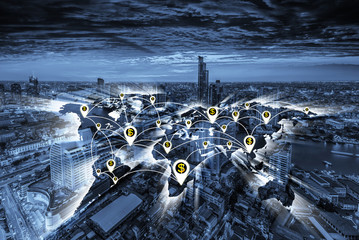 Business concept, city scape and Global business connection technology interface