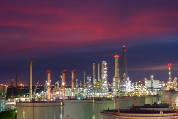 Oil and gas industry - refinery factory - petrochemical plant at twilight